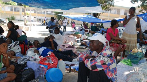 Displaced people after the earthquake in Haiti