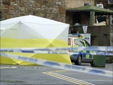 Forensic tent at car park in Caernarfon