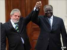 Brazilian President Lula and Kenya&#039;s President Mwai Kibaki, 6 July 2010