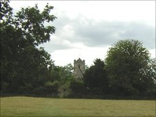 Pasture leading to Rampton church