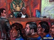Some of the accused spies in a New York courtroom, 1 July 2010