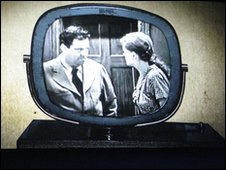 a old black and white tv set