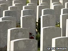 Graves of soldiers killed in the Battle of the Somme