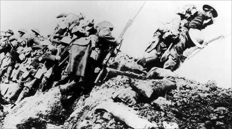 Soldiers charge at the Battle of the Somme