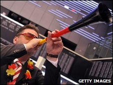 Frankfurt stock exchange trader blowing vuvuzela during World Cup semi-final