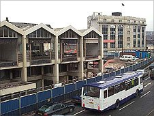 Sheaf Markets on Park Square roundabout were demolished in 2002