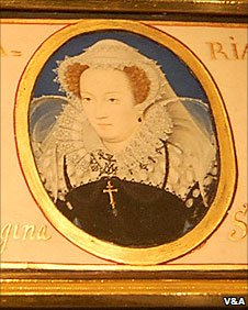 Mary, Queen of Scots (Nicholas Hilliard, 1578-9). She was imprisoned at Sheffield Castle in the 1500s