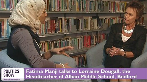 Fatima Manji talking to Lorraine Dougall, Headteacher of Alban Middle School,  Bedford
