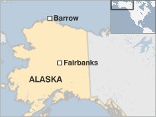 Map showing Barrow and Fairbanks, Alaska