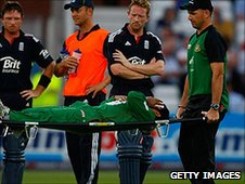 Mushfiqur Rahim is stretchered off
