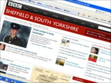 BBC Sheffield & South Yorkshire homepage, July 2010