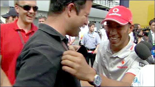 Lewis Hamilton (right) and Ted Kravitz