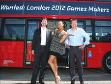 Lord Seb Coe, Chair of LOCOG, Alesha Dixon and Steve Easterbrook, UK and North Europe CEO & President of McDonald's