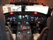 The cockpit of a regional jet