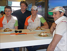 James Martin meets the Force India boys