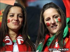 Portugal fans at the game against Ivory Coast