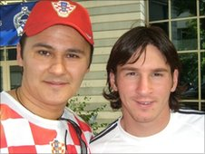 Ante Sapina and Argentina's Lionel Messi
