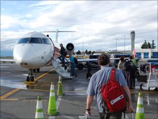 Passengers boarding regional jet