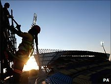 Construction workers at the Royal Bafokeng Stadium, Rustenberg
