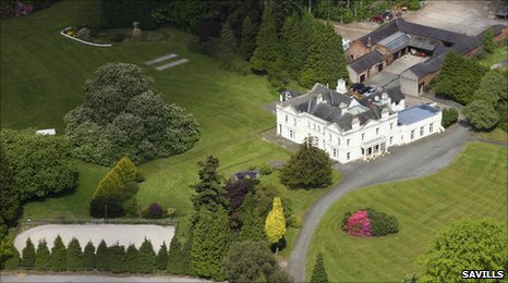 19th Century Marchwiel Hall and part of its estate