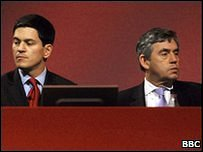 David Miliband and Gordon Brown at the Labour Party Conference