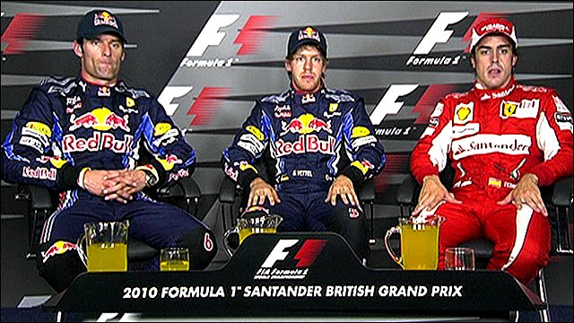 Red Bull's Sebastian Vettel, team-mate Mark Webber in second and Ferrari's Fernando Alonso