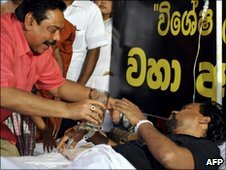President Mahinda Rajapaksa with Housing Minister  Wimal   Weerawansa, 10 July