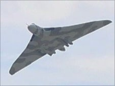Vulcan bomber flying over Yeovilton airbase