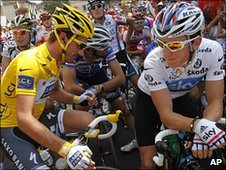 Geraint Thomas (right) eyes Fabian Cancellara's yellow jersey before the first of the mountain stages