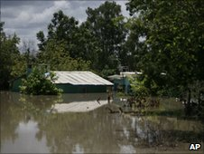 Flooded houses in northeastern Mexico