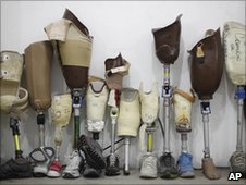 Prosthetic legs at a rehabilitation centre in
