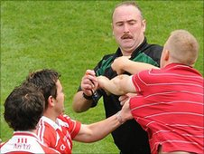Referee Martin Sludden was struck at least three times at Croke Park
