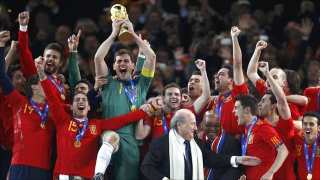Iker Casillas lifts the World Cup for Spain