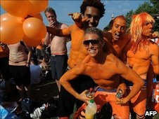 Dutch fans painted orange