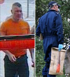 CCTV of Raoul Moat in a DIY store and a police officer carrying what may be Moat's orange t-shirt