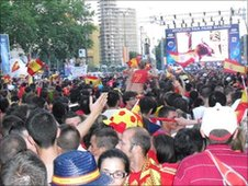 Fans watch match on giant screen in Madrid