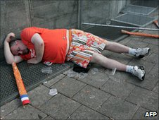 Dutch fan after the match in Amsterdam
