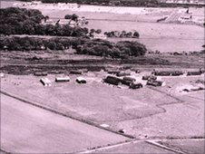 Aerial shot of the former PoW camp taken at Tullos Hill in 1947
