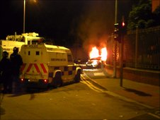 Trouble in Belfast on Sunday night Picture by Liam McNamara