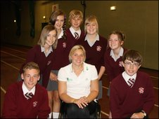 Shelly Woods with School Reporters from St Aidan's CE Technology College, Blackpool