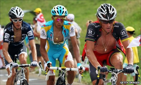 (l-r) Andy Schleck, Alberto Contador and Lance Armstrong