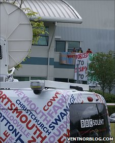 BBC Radio Solent outside Vestas protest