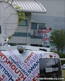 BBC Radio Solent outside Vestas protest