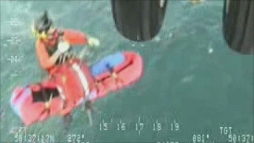 Diver being airlifted