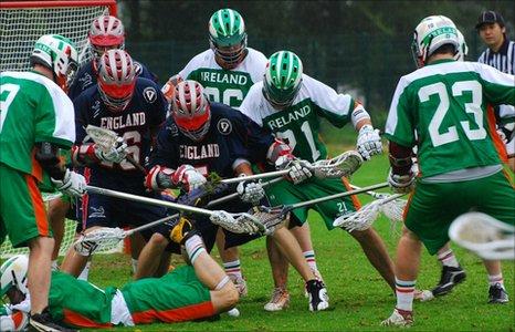 England v Ireland lacrosse match