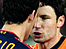 Dutch midfielder Mark van Bommel squares up to Spain's Sergio Busquets