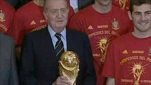 King Juan Carlos of Spain holding the World Cup