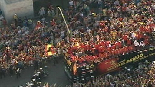 Spain team bus in Madrid