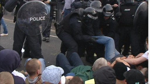Police and prostesters in Belfast