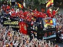 Spain squad return to Madrid